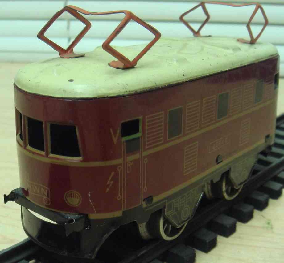 wimmer heinrich hwn 202 e railway toy engine electric locomotive two pantograhps gauge 0