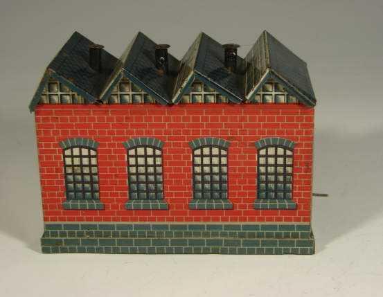bing 11/923/17 spielzeug eisenbahn lokschuppen uhrwerk-lokschuppen, rotes ziegelgebäude mit grauem mauerwer