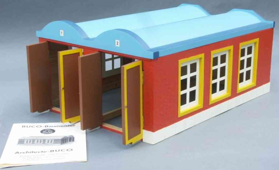 buco bucherer 674 railway toy engine shed 2-constant engine shed in red, blue and yellow, 2 gates with