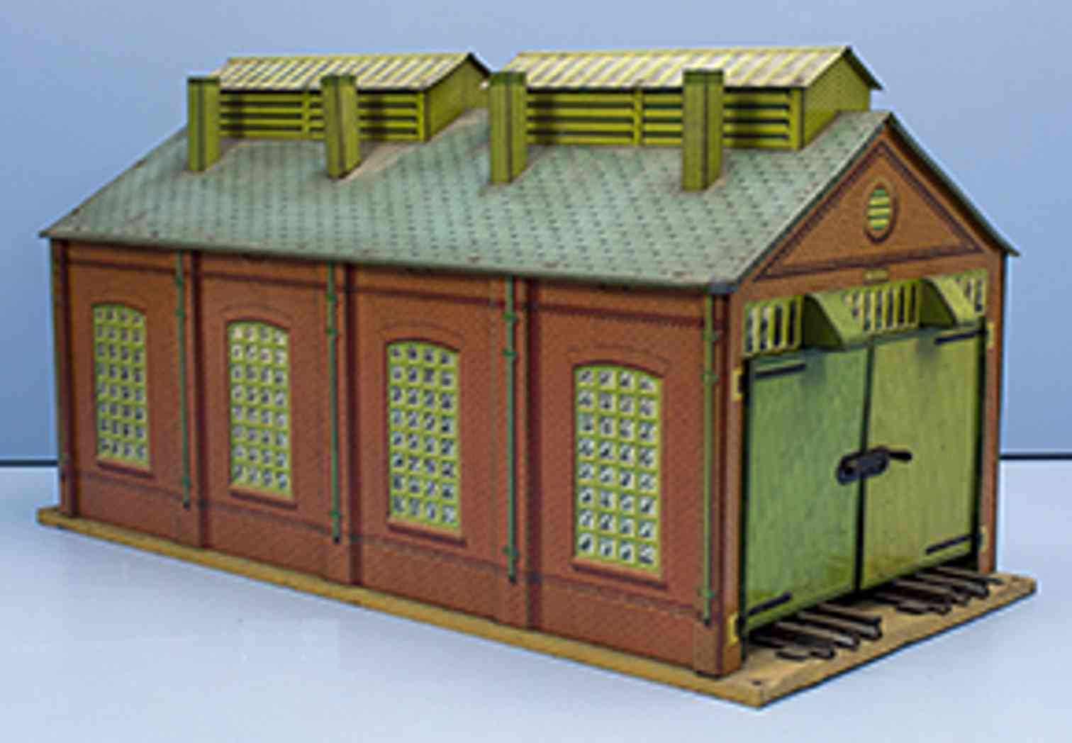hornby railway toy 2-place locomotive shed with tracks for electrical operation