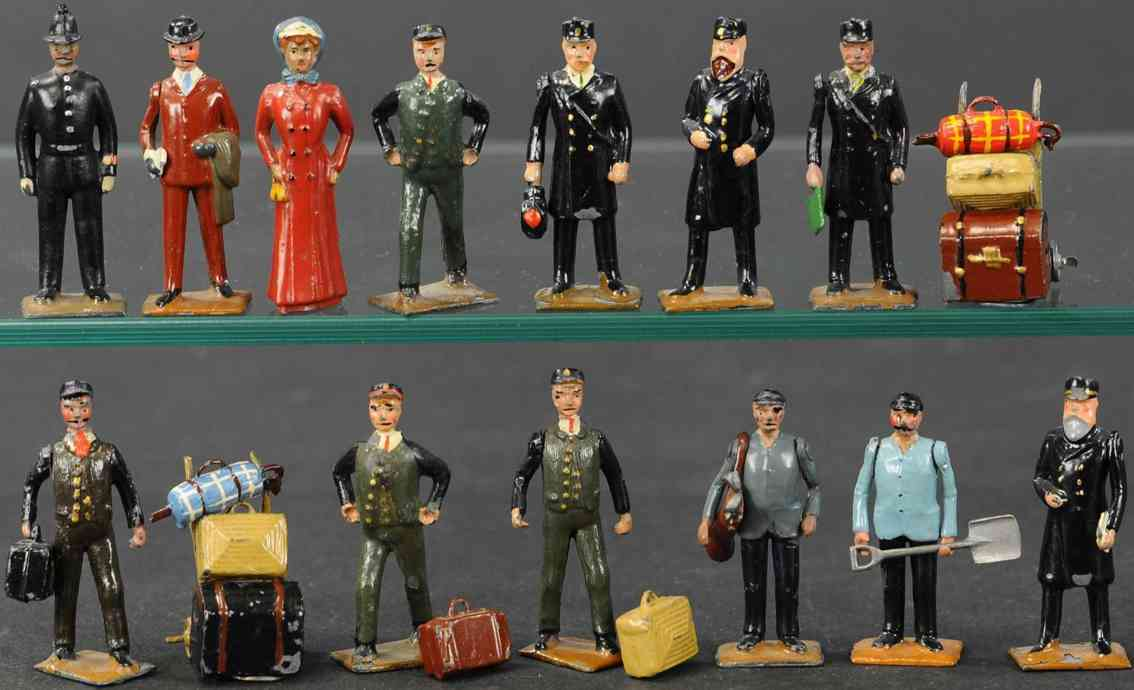 britains ltd toy 158 railway toy figure complete station set #158, depicts figures of the victorian