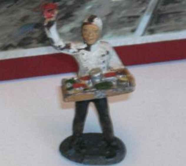 hausser elastolin 0/6610 spielzeug eisenbahn figur bauchladenverkäufer, weiße mütze, weiße jacke, schwarze hose