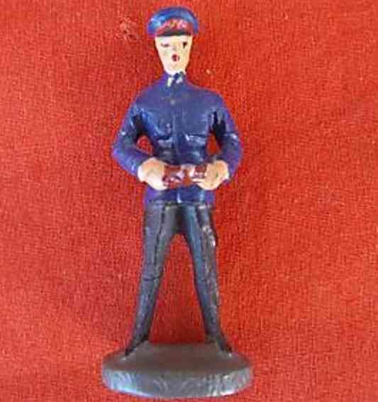 hausser elastolin 0/6648 spielzeug eisenbahn figur schaffner mit fahrkarte und knipszange, blaue jacke, mütze