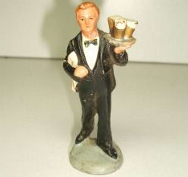 hausser elastolin 6608 railway toy figure waiter with black suit, white shirt, black fly, tray with 3