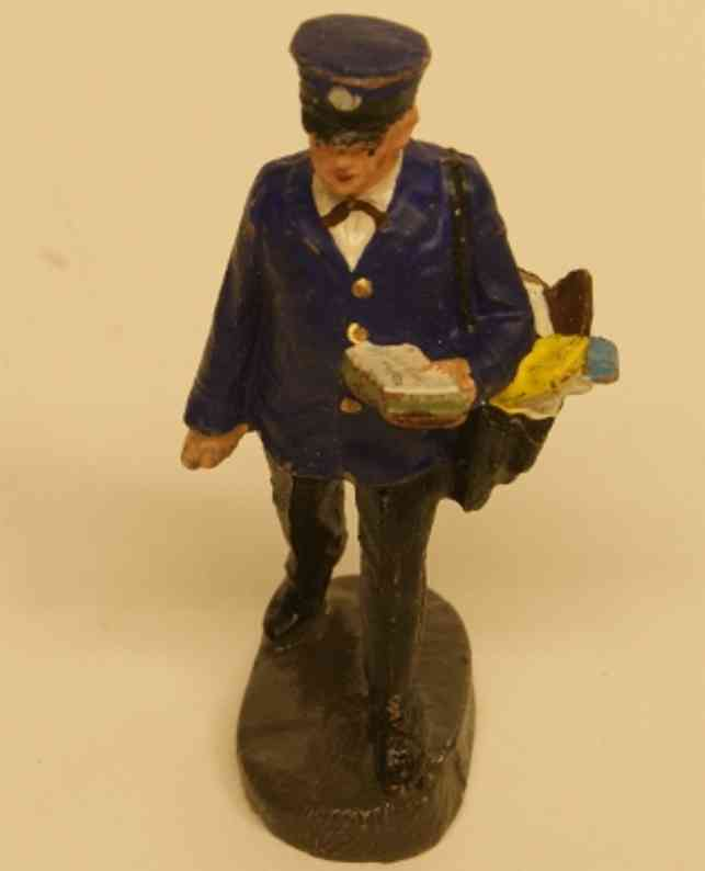 hausser elastolin 6665 mass figure mail carrier with pocket with letters, black trousers, blue