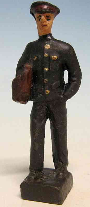 leyla spielzeug eisenbahn figur bahnbeamter mit tasche im rechten arm, schwarze hose, schwar