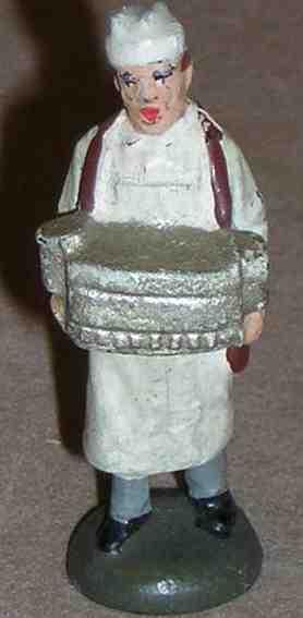 lineol 187/11 spielzeug eisenbahn figur wurstverkäufer mit wurstbehälter, weiße kittelschürze