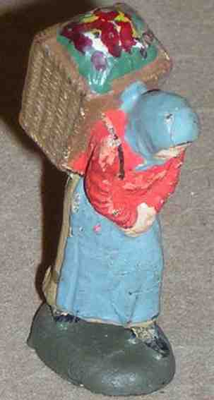 Lineol 187/35 Marktfrau mit Huckelkorb in verschiedenfarbigen Trachten