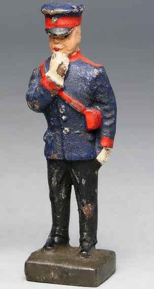 lineol 188/2 spielzeug eisenbahn figur zugführer mit schwarzer hose, dunkelblauer jacke, trillerpfe