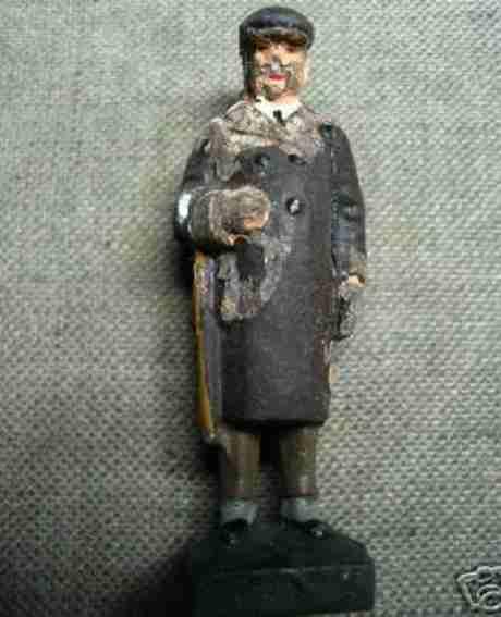 lineol 188/8 spielzeug eisenbahn figur alter mann mit stockschirm in der rechten und kleiner tasche
