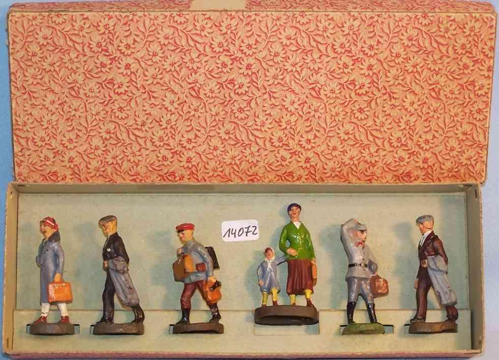 maerklin 2728G/6 spielzeug eisenbahn figur ein karton mit 6 massefiguren von hausser, handlackiert, pos