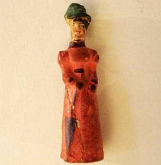 Märklin Steckfigur Dame in rot mit Hut und Schirm