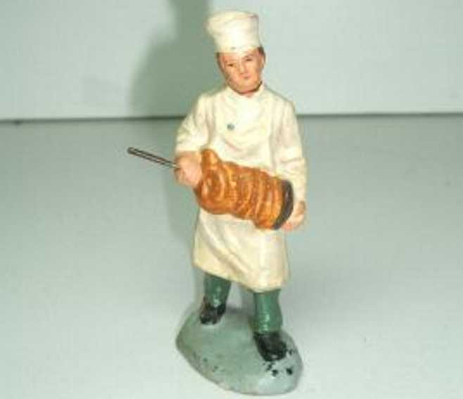 marolin 863/20 railway toy figure pretzel sales assistant with jacket, the trousers, the apron