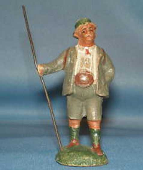 pfeiffer 5687 railway toy figure tourist with wandering-stick in dress suit