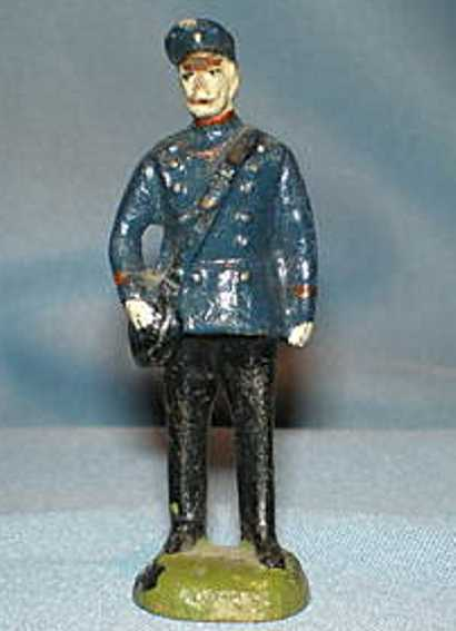 pfeiffer 5690 railway toy figure conductor in darkly blue and black service uniform with serv