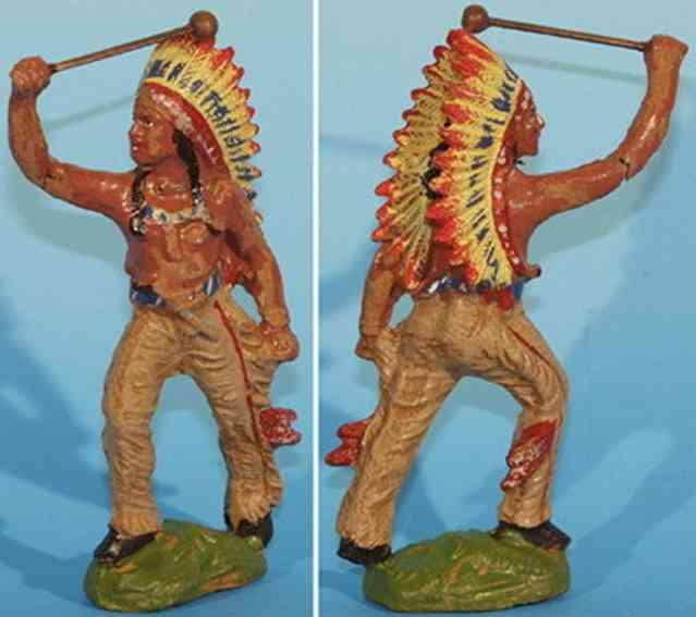 pfeiffer massefiguren indianer mit einem schlegl in der hand