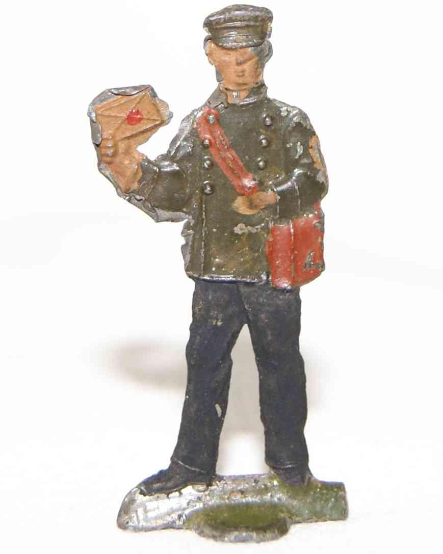 spielzeug eisenbahn figur postbote brieftraeger aus handbemaltem zinn