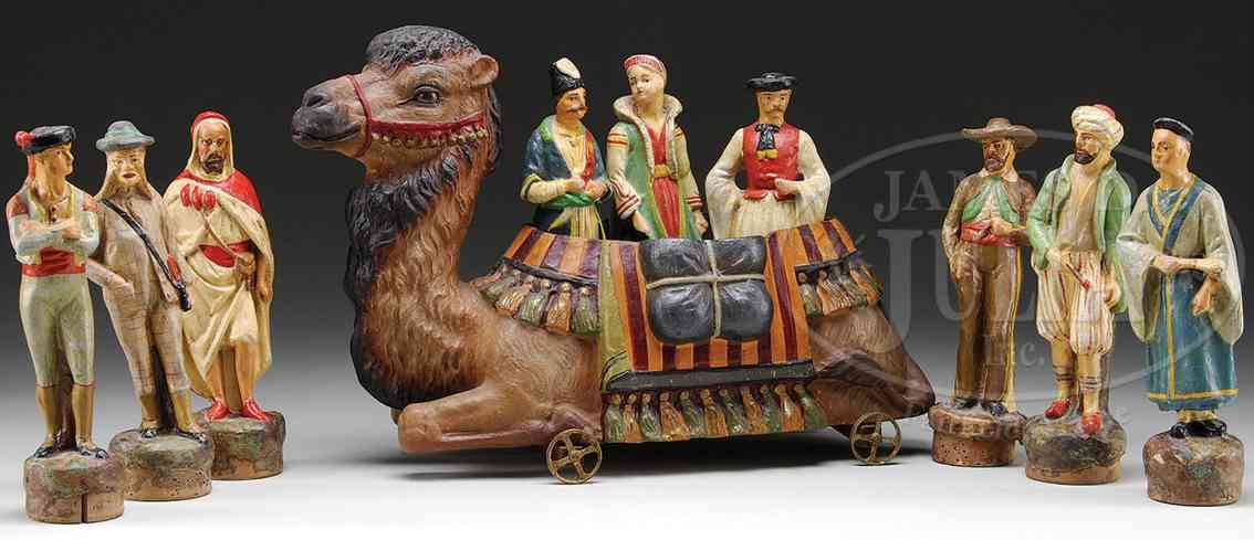 unknown massefiguren kamel kegelset aus deutschland, das kamel mit rädern als beh