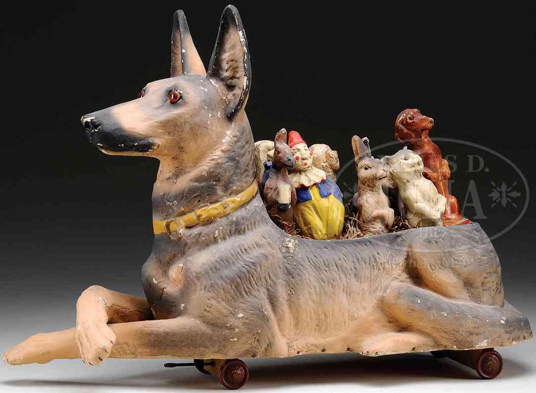 unknown massefiguren deutscher schäferhund mit glasaugen und 8 tiere als kegel au