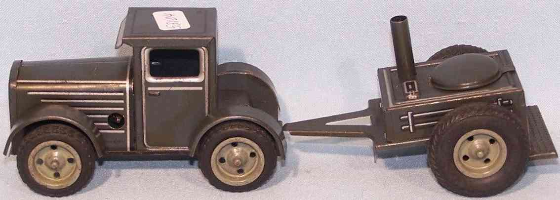 arnold military toy tractor with field kitchen tin clockwork
