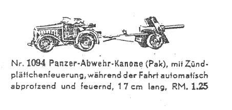bub 1094 militaer spielzeug geschuetzschlepper mit panzerabwehrkanone