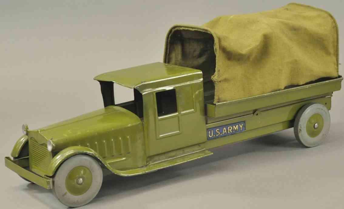 cor-cor toy company pressed steel military us army truck khaki