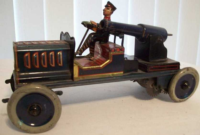eberl hans military toy car military cannon car windup toy, lithographed. the cannon is