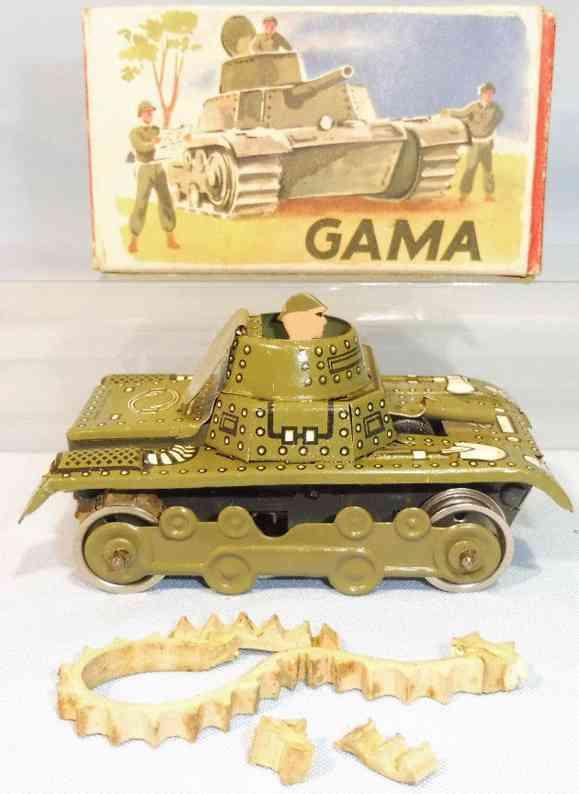 gama 634 military toy car tank clockwork