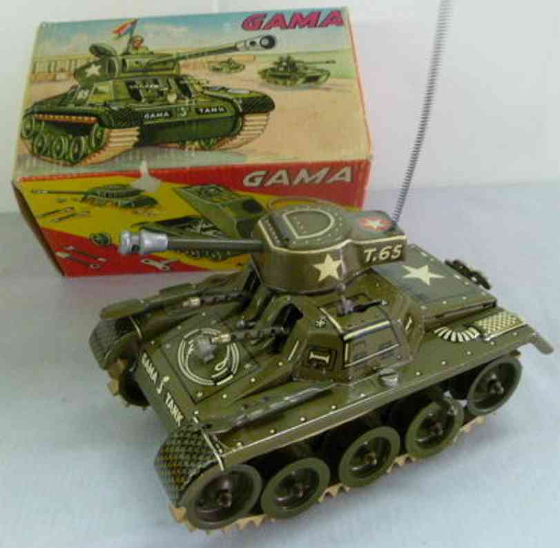 gama 654 military toy mounting tin tank clockwork