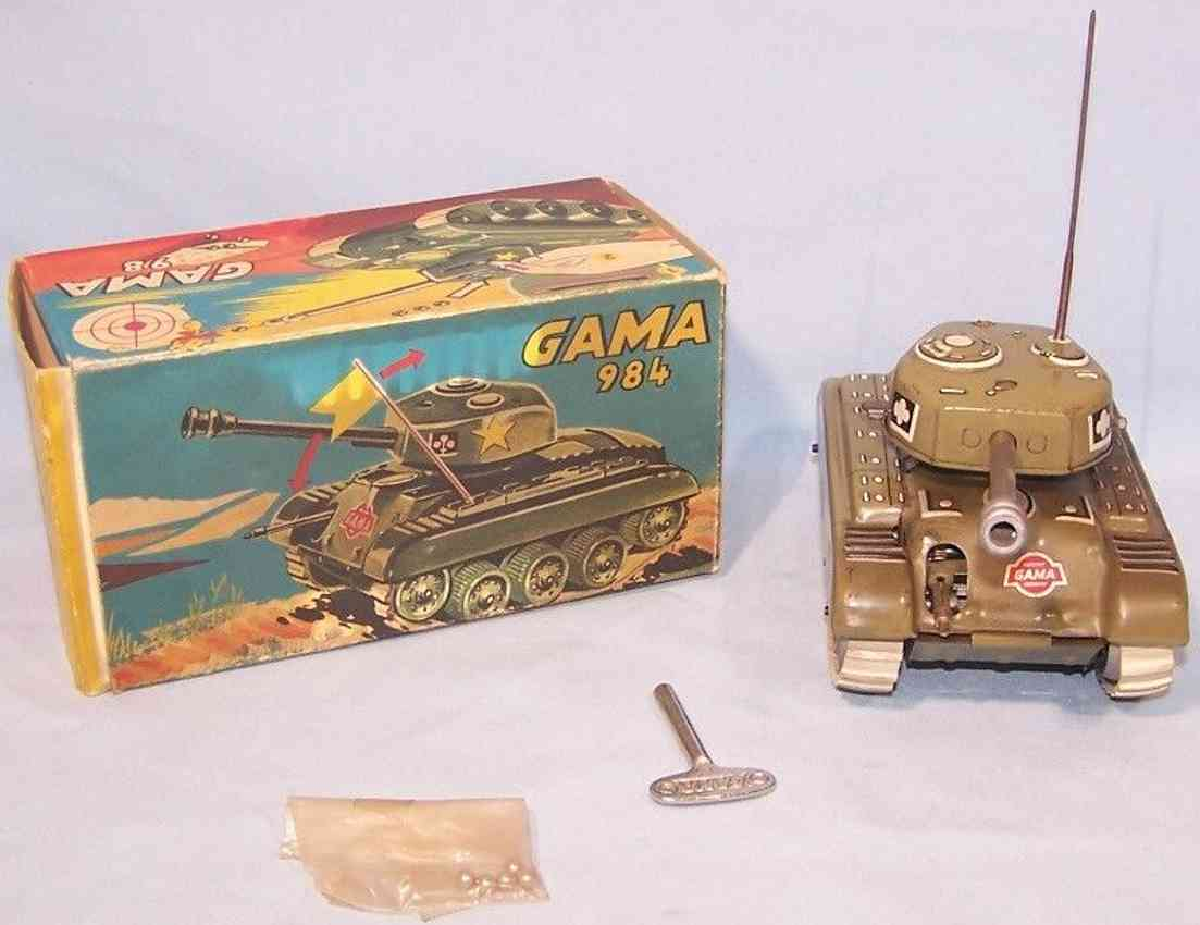 gama 98 military toy car tank tin nato green machine spark gun