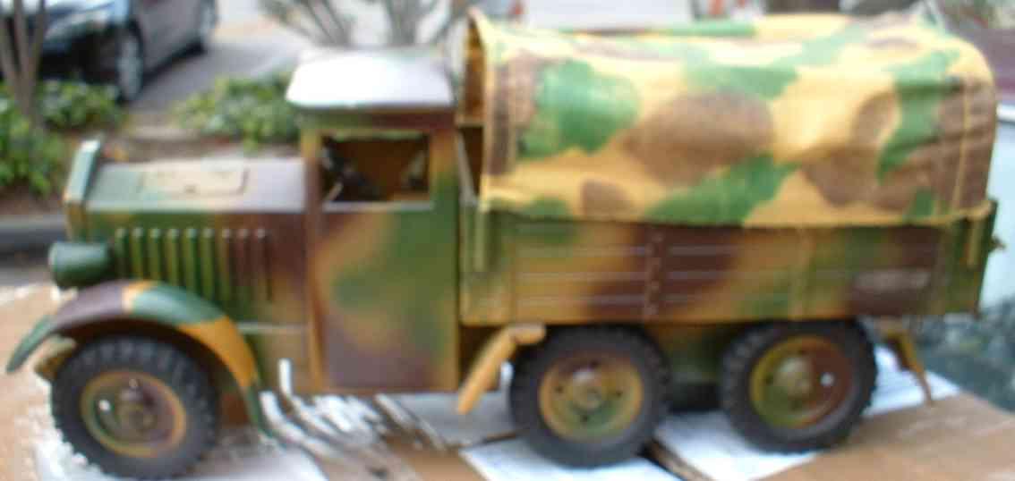 hausser elastolin 1211 spielzeug auto militaerlastwagen mit uhrwerk