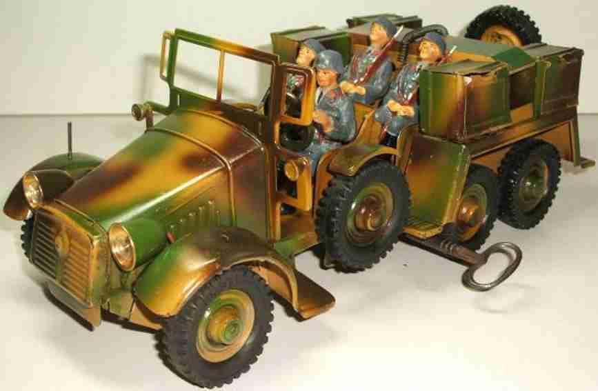 hausser elastolin 730/10 militar spielzeug auto mannschaftswagen und munitionswagen