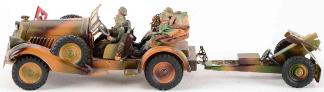 hausser elastolin military toy car staff car field cannon