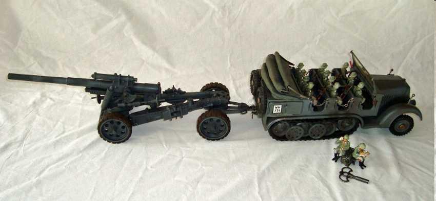 hausser elastolin 1221/5 militaer spielzeug zugmaschine halbkette mit schwere feldhaubitze uhrwerk
