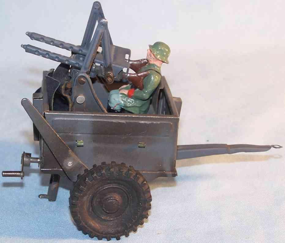 hausser elastolin militaer spielzeug auto luftabwehrgeschuetz im anhaenger mit figur