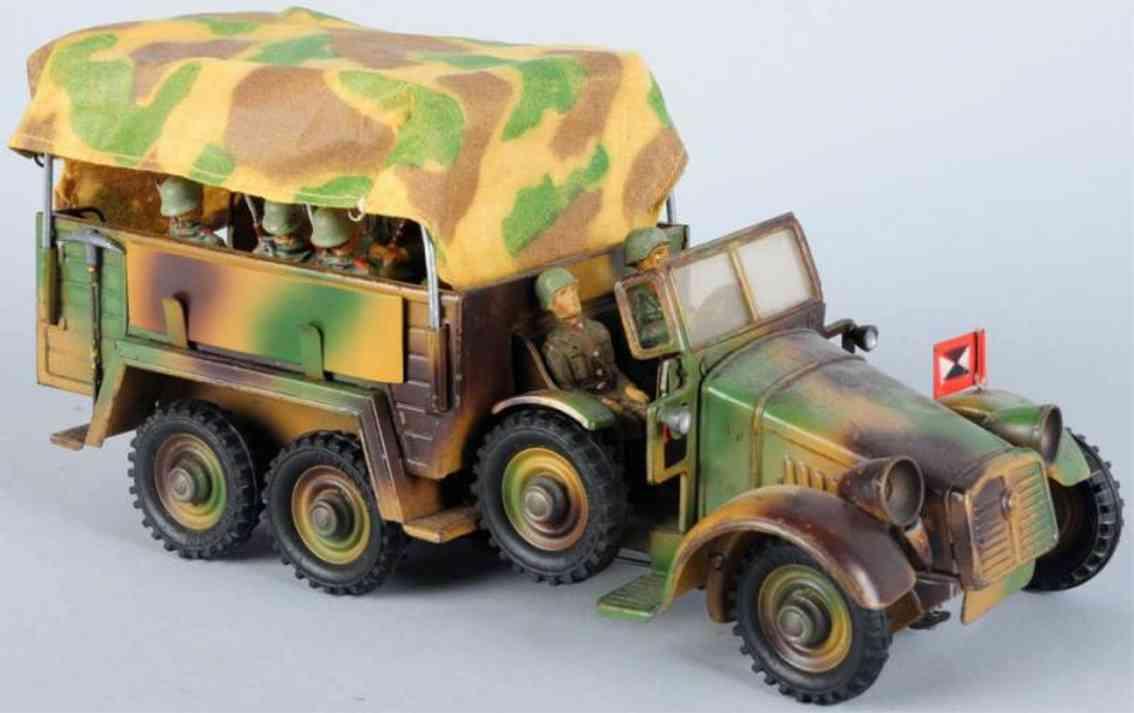 hausser elastolin militaer spielzeug auto krupp mannschaftswagen