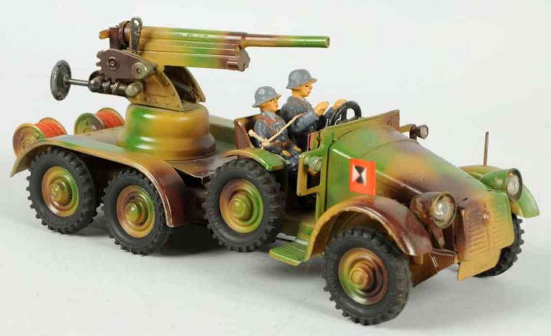 hausser elastolin military toy car tinplate camouflage aa gun truck