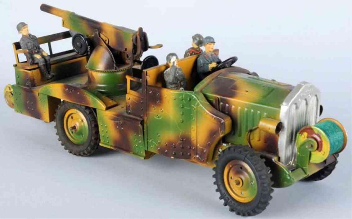 hausser elastolin militaer spielzeug auto flugabwehrwagen aus blech