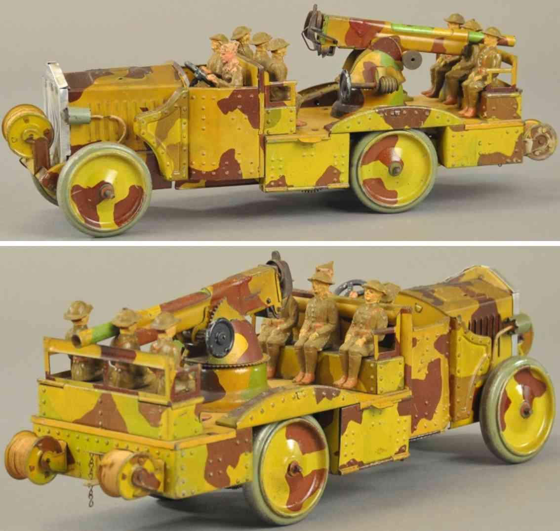 hausser elastolin militaer spielzeug flugabwehrwagen kanone soldaten