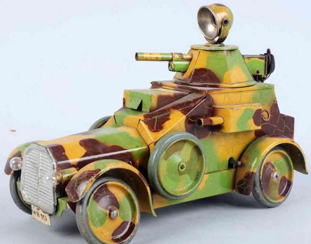 hausser elastolin militaer spielzeug auto panzerwagen mit uhrwerk