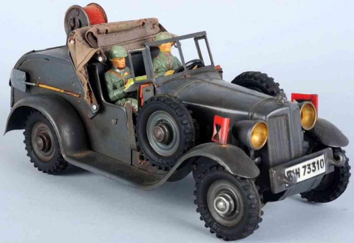 hausser elastolin wh 73310 militaer spielzeug auto telefonkabelwagen in grau