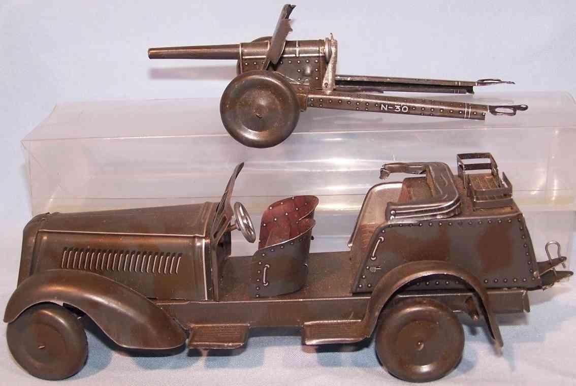 jnf neuhierl militaer spielzeug kuebelwagen mit kanone uhrwerk