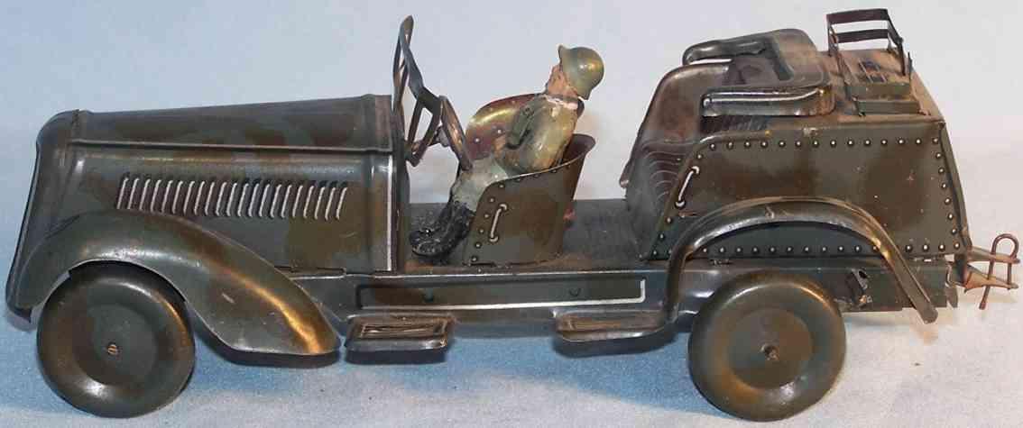 jnf neuhierl WH 29 militaer spielzeug auto kuebelwagen aus blech mit uhrwerk