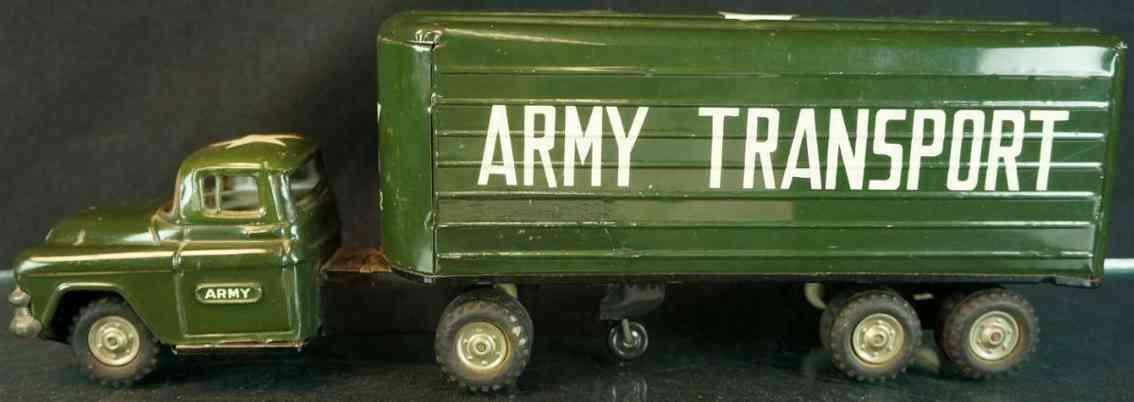 linemar militaer spielzeug auto transporter sattelzug aus stahlblech gruen
