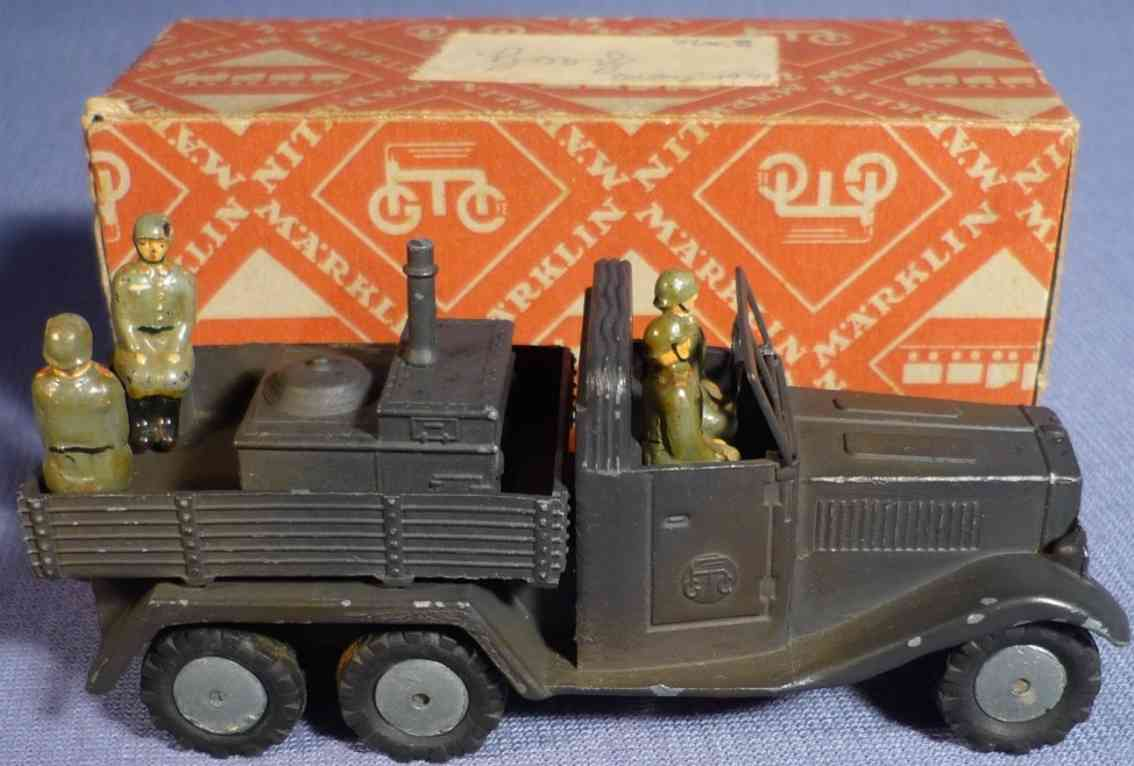 marklin 8021/15 g military toy car truck with field kitchen and four soldiers