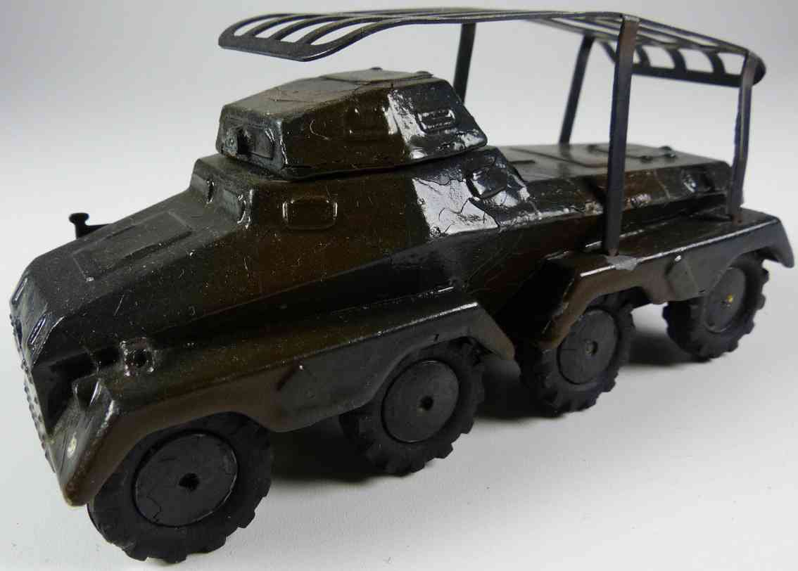 marklin 8021/23 military toy armored scout car in dark brown and black cast iron