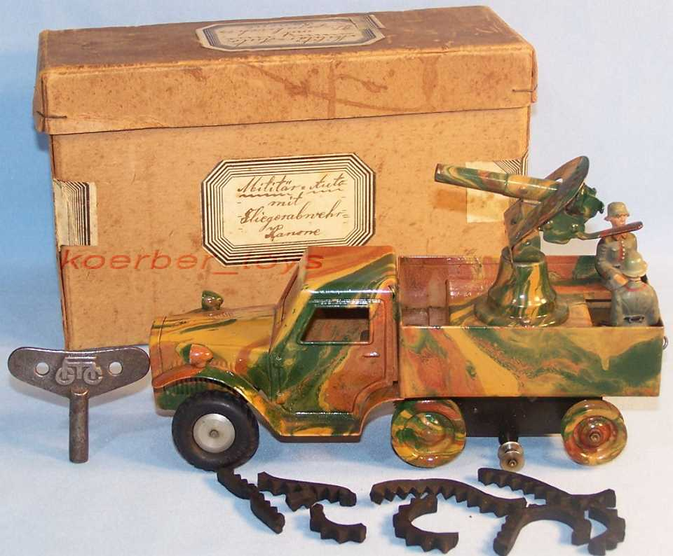 marklin 8194 military toy car semichain vehicle with anti-aircraft defense canno