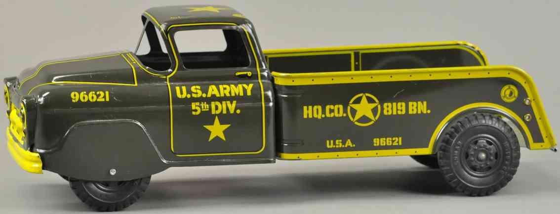 marx louis 96621 militaer spielzeug auto us army pickup wagen schwarz gelb