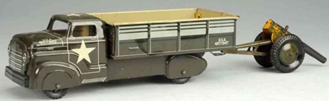 marx louis military toy car army transport truck with mobile field cannon