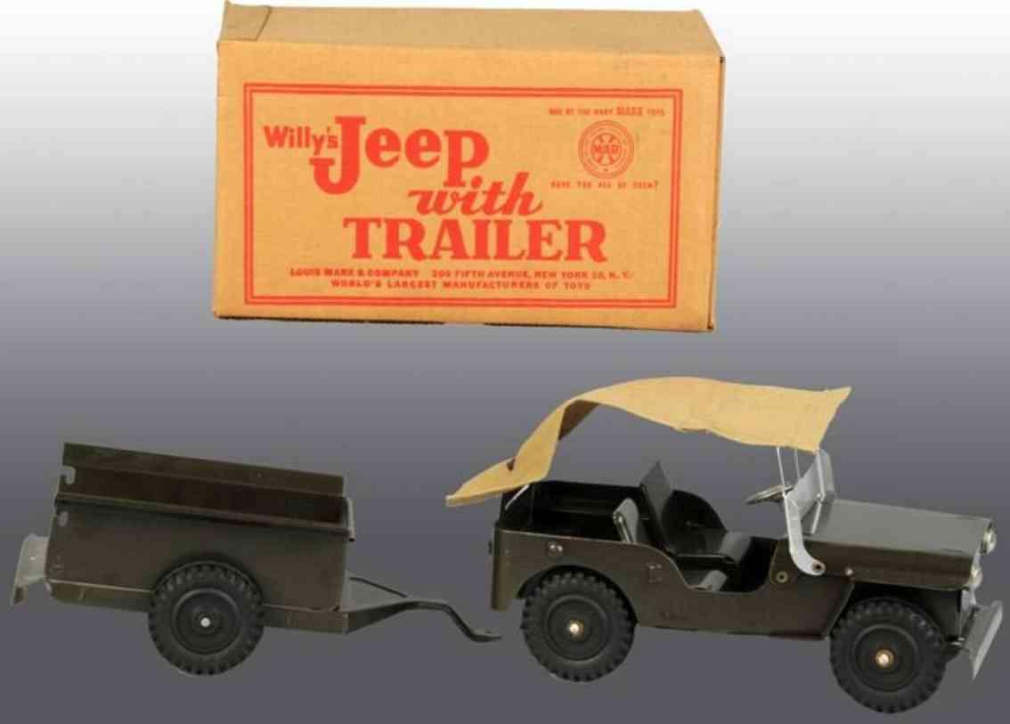 Marx Louis Co. Willys Jeep mit Anhänger